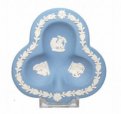 ウェッジウッド/WEDGWOOD ジャスパー/Jasper ペールブルー/Pale Blue クローバートレイ 廃盤 食器 ヴィンテージ usedの写真