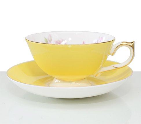 エインズレイ エリザベスローズ ティーカップ&ソーサー アセンズ イエロー Aynsley/Elizabeth Rose 紅茶カップ ギフトの写真No.2