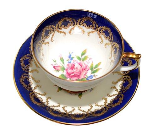 エインズレイ 金彩 大輪のピンクローズが美しい コバルトブルー ティーカップ&ソーサーc.2145 Aynsley 紅茶カップ ギフトの写真