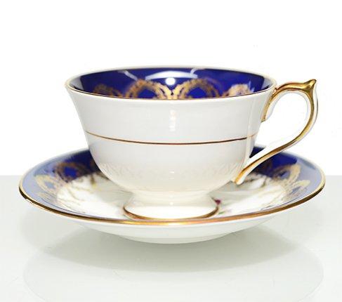 エインズレイ 金彩 大輪のピンクローズが美しい コバルトブルー ティーカップ&ソーサーc.2145 Aynsley 紅茶カップ ギフトの写真No.2
