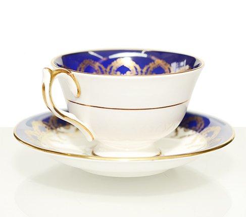 エインズレイ 金彩 大輪のピンクローズが美しい コバルトブルー ティーカップ&ソーサーc.2145 Aynsley 紅茶カップ ギフトの写真No.3