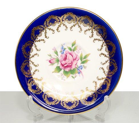 エインズレイ 金彩 大輪のピンクローズが美しい コバルトブルー ティーカップ&ソーサーc.2145 Aynsley 紅茶カップ ギフトの写真No.4