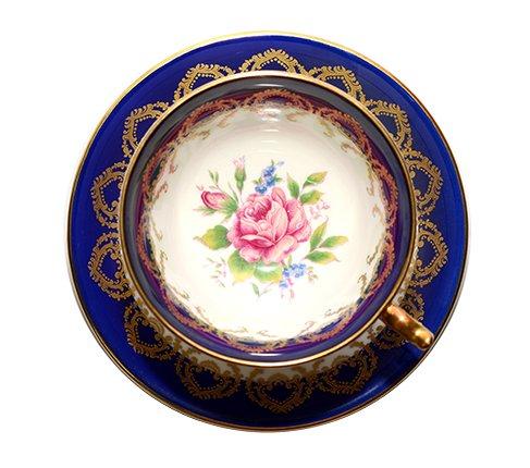 エインズレイ 金彩 大輪のピンクローズが美しい コバルトブルー ティーカップ&ソーサーc.2145 Aynsley 紅茶カップ ギフトの写真No.5