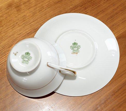 エインズレイ 金彩 大輪のピンクローズが美しい コバルトブルー ティーカップ&ソーサーc.2145 Aynsley 紅茶カップ ギフトの写真No.8
