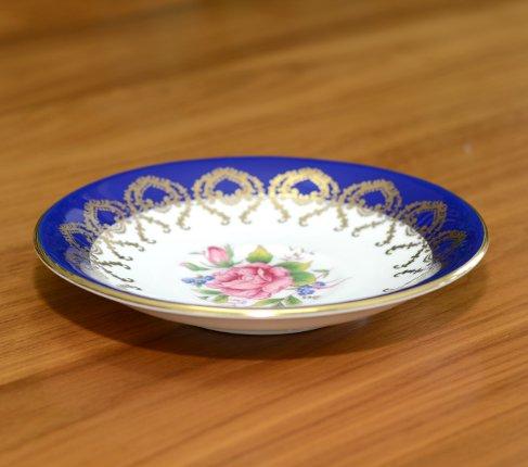 エインズレイ 金彩 大輪のピンクローズが美しい コバルトブルー ティーカップ&ソーサーc.2145 Aynsley 紅茶カップ ギフトの写真No.6