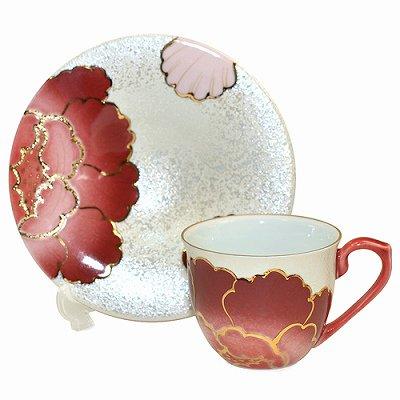 【送料無料】【新品】有田焼 田清窯 赤牡丹 コーヒーカップ&ソーサー/珈琲碗皿の写真