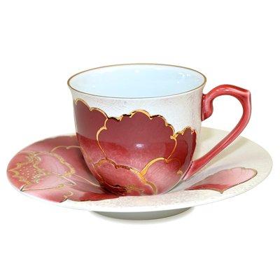 【送料無料】【新品】有田焼 田清窯 赤牡丹 コーヒーカップ&ソーサー/珈琲碗皿の写真No.2