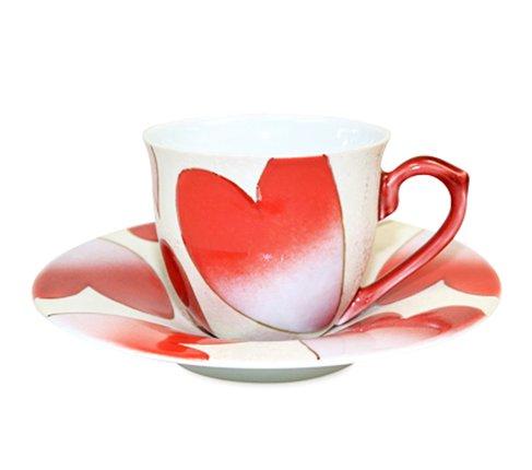 【新品】有田焼 田清窯 ハート(赤) コーヒーカップ&ソーサー/珈琲碗皿の写真