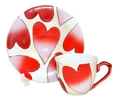 【新品】有田焼 田清窯 ハート(赤) コーヒーカップ&ソーサー/珈琲碗皿の写真No.2
