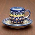 ◇【新品】ボレスワヴィエツ陶器/Boleslawiec フラワー&ドット カップ&ソーサー