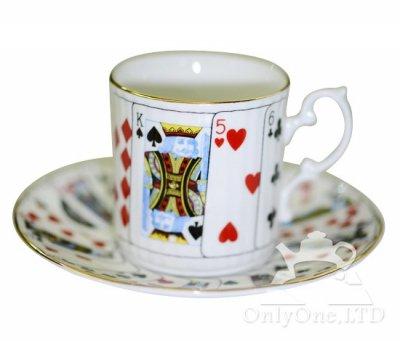 ◇Staffordshire×Elizabethan Cut For Coffee トランプ柄 デミタスカップ&ソーサーの写真