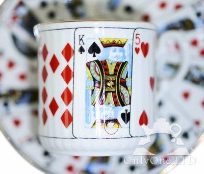 ◇Staffordshire×Elizabethan Cut For Coffee トランプ柄 デミタスカップ&ソーサーの写真No.2