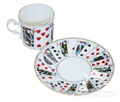 ◇Staffordshire×Elizabethan Cut For Coffee トランプ柄 デミタスカップ&ソーサーの写真No.3