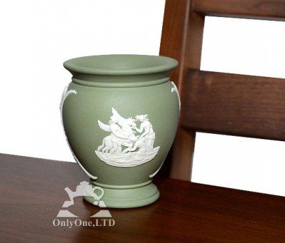 ◇ウェッジウッド/WEDGWOOD ジャスパー/Jasper ギリシャ神話 セージグリーン/Sage green ベース/Vaseの写真