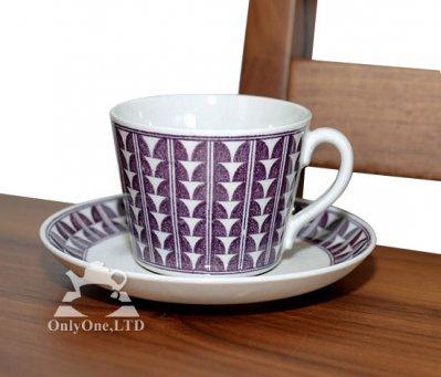 ◇ゲフレ/Gefle ウプサラエクビー/Upsala Ekeby バリアント/Variant パープル コーヒーカップ&ソーサーの写真