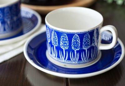 ◇ゲフレ/Gefle ウプサラエクビー/Upsala Ekeby 青いヒヤシンス/Bla Hyacint コーヒーカップ&ソーサーの写真