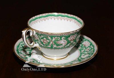 ◇クラウンスタフォードシャー/Crown Staffordshire エルズミーア/Ellesmere コーヒーカップ&ソーサー(グリーン)の写真No.2