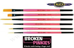 BROKEN PINKIES  6 BRUSHES