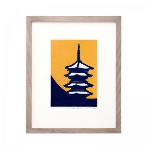 木版画 竹中健司「月ノ東寺」