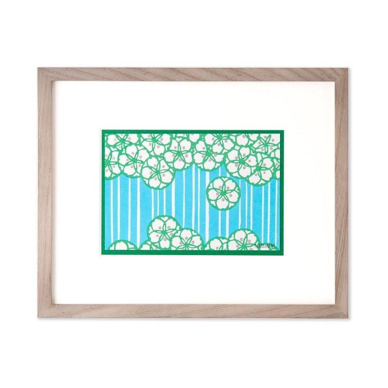 木版画 原田裕子「季節の木版画 花の雨」
