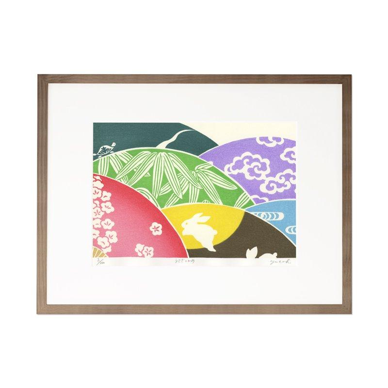 木版画 原田裕子「うさぎとかめ」