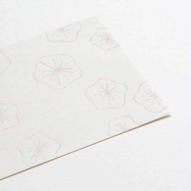 白い木版一筆箋 キラキラウメ(便箋6枚・封筒3枚セット)