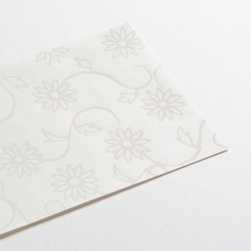 白い木版一筆箋 菊唐草(便箋6枚・封筒3枚セット)