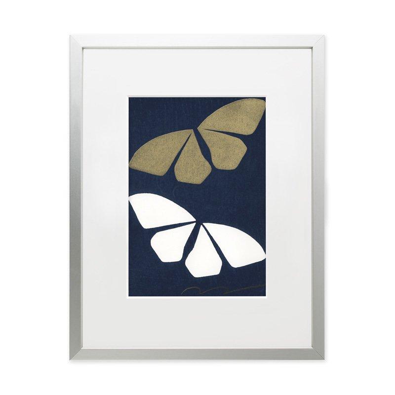 木版画 竹中健司「Butterfly Effect A(紺)」