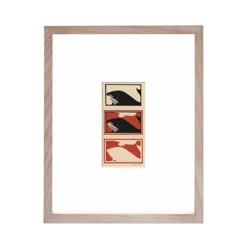 木版画 原田裕子「木版採集シリーズ クジラ」