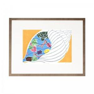 木版画 原田裕子「うらしまたろう」