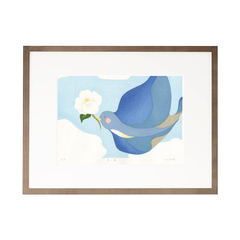 木版画 原田裕子「青い鳥」