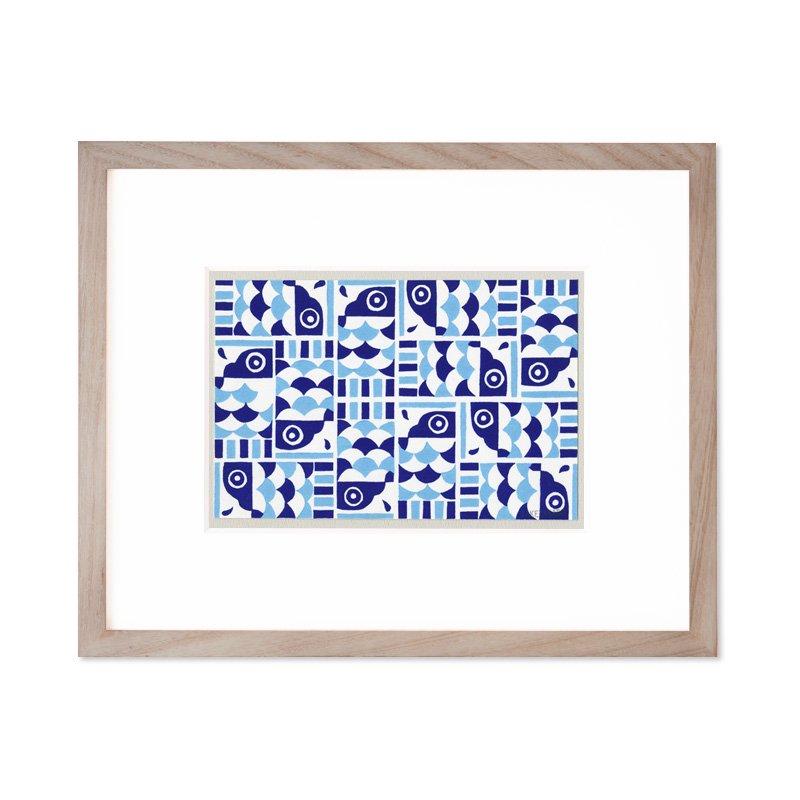 木版画 原田裕子「季節の木版画 こいのぼりタイル」