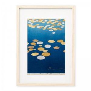 木版画 竹中健司「moon and pondlily」