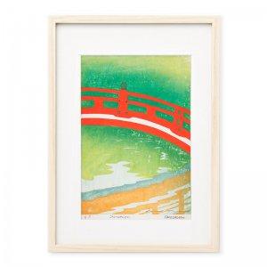 木版画 竹中健司「神泉苑」