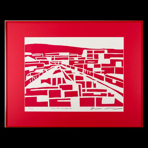 木版画 竹中健司「color red Shirakawa」