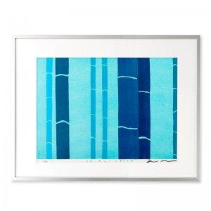 木版画 竹中健司「Chikurin blue」