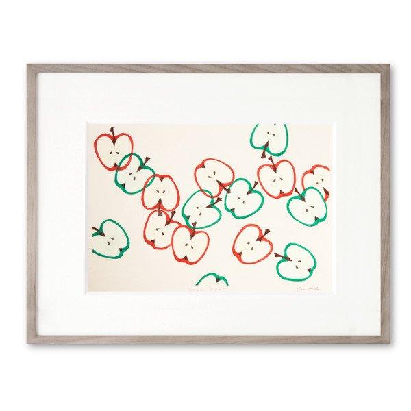 木版画 原田裕子「青りんご赤りんご」