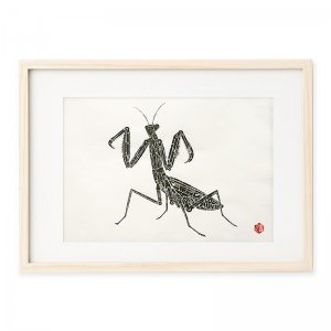 木版画 内田喜基「Kanamono Art Praying mantis」