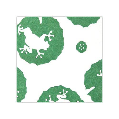 木版和紙 蓮に蛙