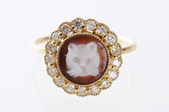 K18猫カメオxダイヤリング