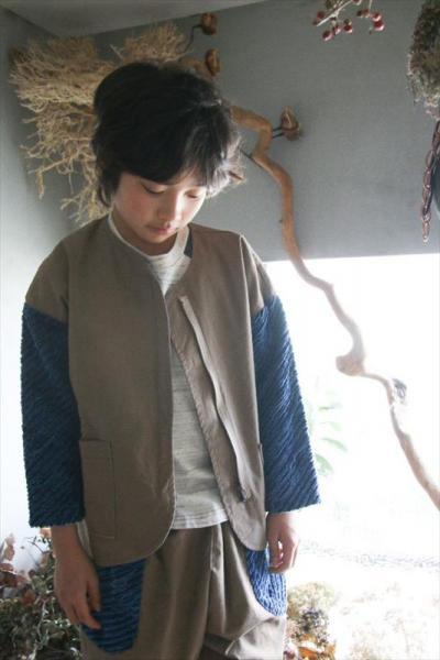 デニム袖ジップジャケット/camel