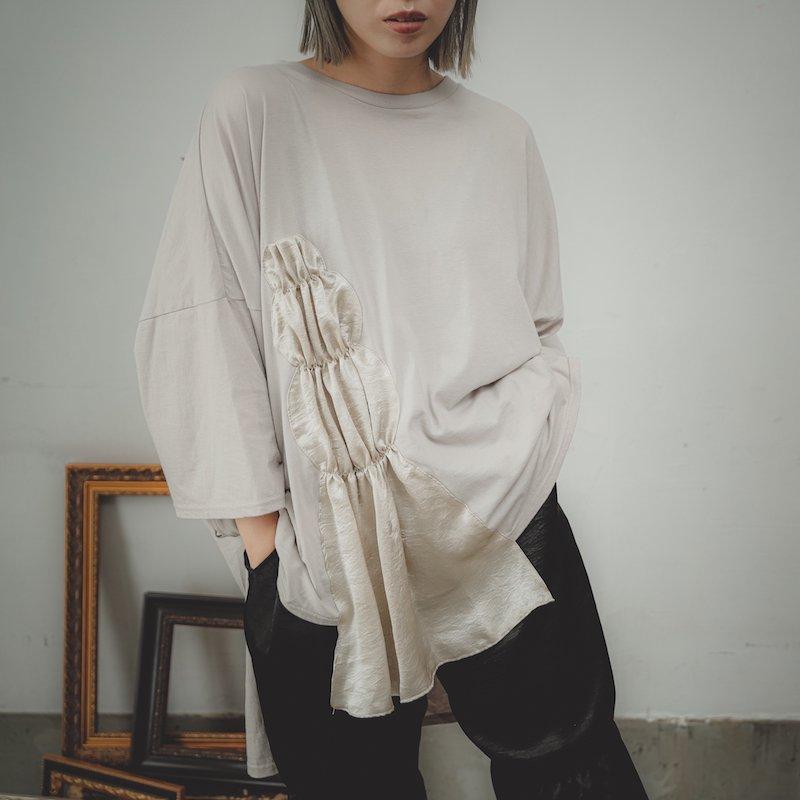 【予約販売】サテンドレープソフトTシャツ/0(145~155)・1(Free)
