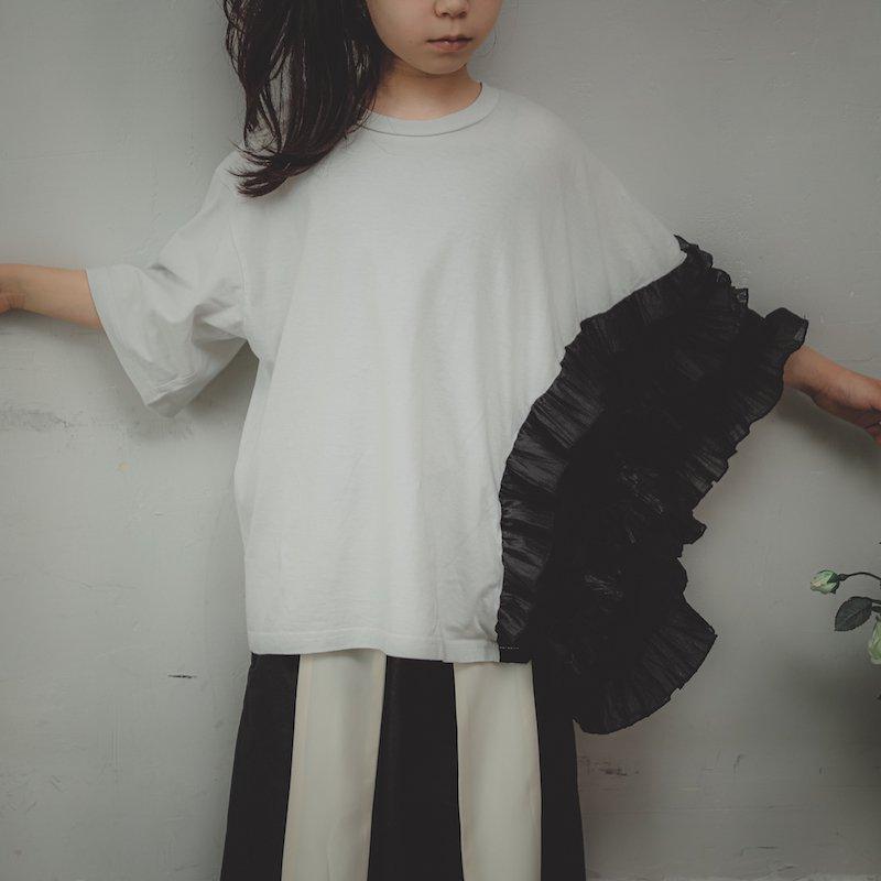 【予約販売】アシンメトリープリーツフリルTシャツ/SS・S・M