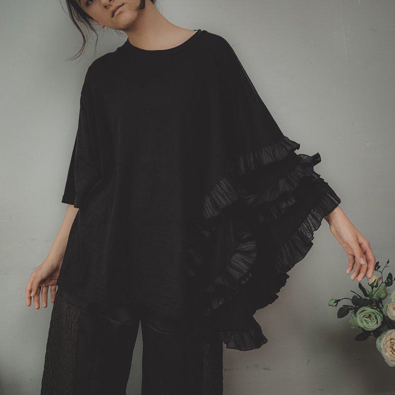 【予約販売】アシンメトリープリーツフリルTシャツ/0(145~155)・1(Free)