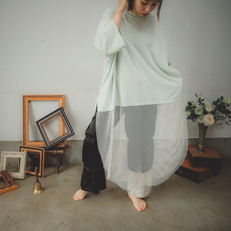 【予約販売】メッシュ切り替えロングTシャツ/0(145~155)・1(Free)