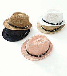 ベルテッドストロー帽子(ディープベージュのみ)