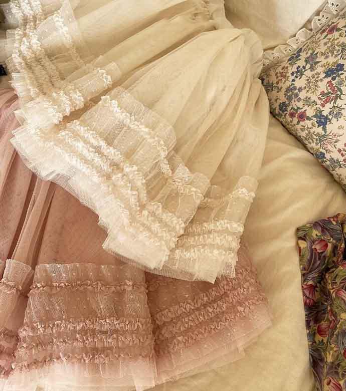 プディンメッシュスカート(2色)