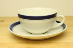 RORSTRAND(ロールストランド) 青いストライプ入りカップ&ソーサー