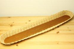 藤とチークの長方形トレイ64