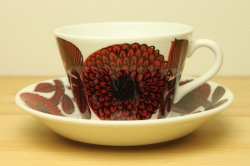 GUSTAVSBERG(グスタフスベリ) オリジナルASTER(アスター)赤 コーヒーカップ&ソーサー